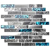 TST Stone Glass Tile Gray Smooth Polished Marble Teal Blue Crystal Glass Brushed Steel Accent Wall Backsplash Border Art Mosaic Tile TSTMGT001 (11 Square Feet)