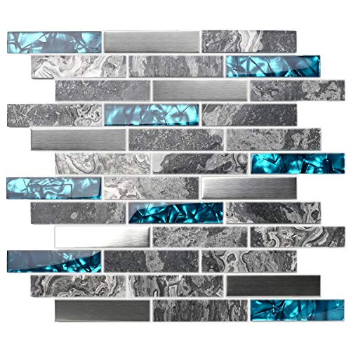 TST Stone Glass Tile Gray Smooth Polished Marble Teal Blue Crystal Glass Brushed Steel Accent Wall Backsplash Border Art Mosaic Tile TSTMGT001 (1 Sample 4x12 Inches)