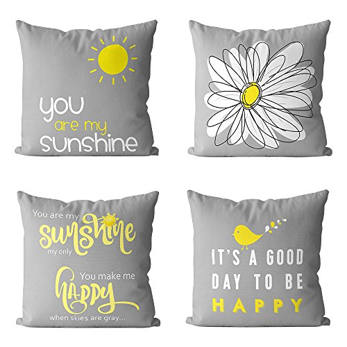 Pack of 4 MUILEE Decoretive Cute Throw Pillow Covers Yellow On Grey Cushion Case Outdoor Shell Pillow Case for Car Sofa Bed Couch 18 x 18 Inch (Bird Sunshine Flower) ()