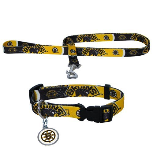 Boston Bruins Pet Set Dog Leash Collar ID Tag LARGE