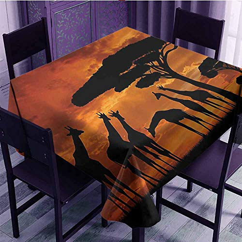 SEMZUXCVO Printed Square Tablecloth Wildlife Decor Safari with Giraffe Crew with Majestic Tree at Sunrise in Kenya Easy to Care W60 x L60 Burnt Orange Black