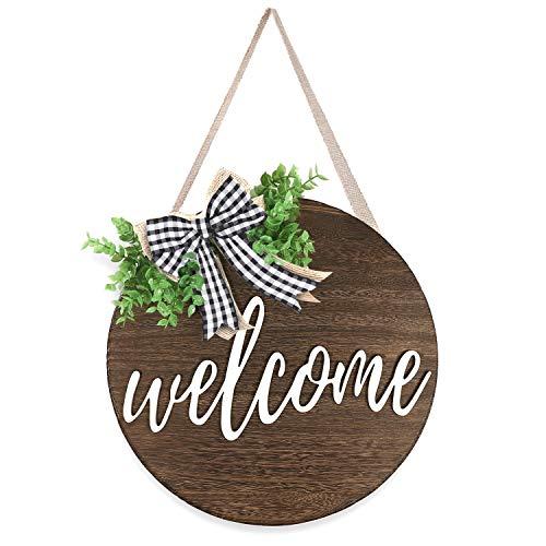 YOULEY 3D Welcome Wooden Sign Front Door Hanger Decor | Black Round Door Wreath | Entry Way Wall Decor,Welcome Farmhouse Sign for Front Door (brown)