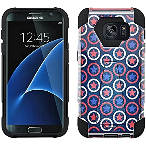 Samsung Galaxy S7 Edge Hybrid Case Patriotic Stars Stripes and Circles 2 Piece Style Silicone Case Cover with Stand for Samsung Galaxy S7 Edge Sales