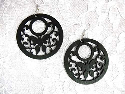 New Black Wood Scroll with Butterfly Butterflies Round Flat Hoop Style Earrings