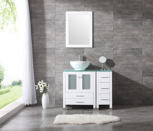 Bathroom Vanity Top Single Ceramic Vessel Sink Cabinet MDF Wood w/Mirror (36'', Sink Bowl) - 36' Bathroom Vanity Top