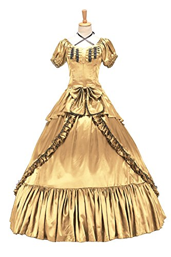 XOMO Victorian Southern Belle Gothic Dress Ball Gown Halloween Prom Lolita Costume Yellow XL ()