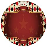 Round Rug Mat Carpet,Poker Tournament Decorations,Casino Inspired Checkered Framework Stars Swirls Vintage Print Decorative,Multicolor,Flannel Microfiber Non-slip Soft Absorbent,for Kitchen Floor Bath