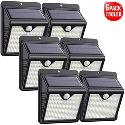 chollos oferta descuentos barato Luz Solar Exterior 2020 Más Nuevo Modelo 6 Paquete 150 LED 1000 Lumens iPosible 180 Iluminación Foco Solar con Sensor de Movimiento Impermeable Lámpara Solar para Jardín Camino