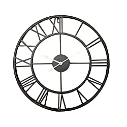 Aero Snail Black Vintage Retro 20-inch Dia Large Iron Metal Indoor Wall Clock
