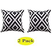 Swity Home[2 pack] White and black Series Geometry Polyester Home Decorative Accent Throw Pillow Cover Cushion Case Pillow Sham for Sofa(No Pillow), Set of 2