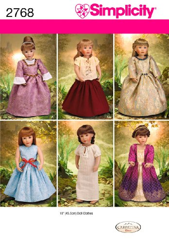 Simplicity Sewing Pattern 2768 Doll Clothes, One Size