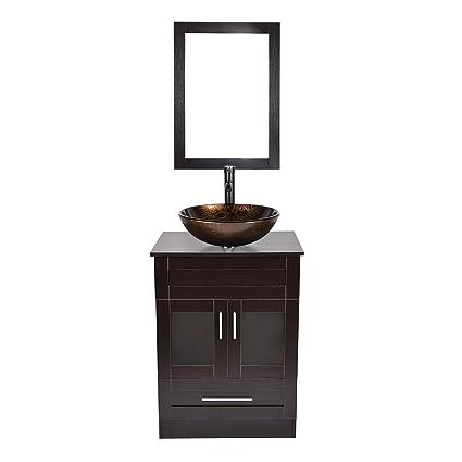 Complete Bathroom Vanity Sets.Amazon Com Puluomis 24 Bathroom Vanity Sets Mdf Cabinet