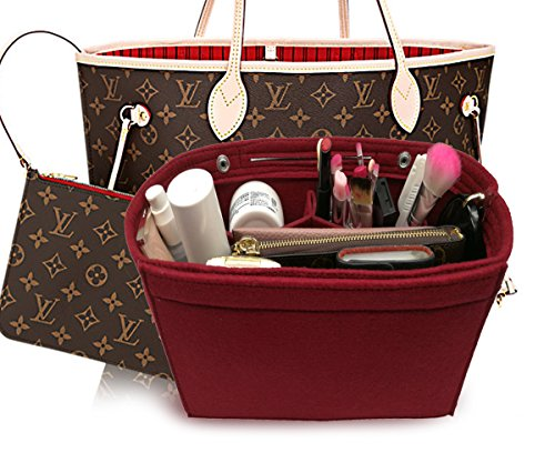 LEXSION Felt Fabric Purse Handbag Organizer Bag - MultiPocket Insert Bag Vine Red S Petite Purse Handbag
