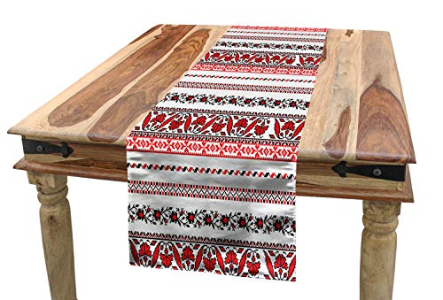 "Lunarable Antique Table Runner, Traditional Ukrainian Borders Set Classical Vintage Lace Like Tile Print, Dining Room Kitchen Rectangular Runner, 16"" X 72"", Black Red"