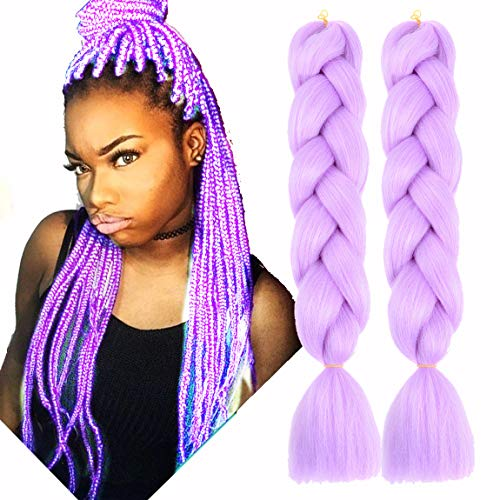 MSCHARM 5Pcs 100g/Pcs Synthetic Braiding Hair Extensions 24 Inch Ombre Jumbo Fiber Braiding Hair Extensions for Daily Life or Party Use(Light Purple) -