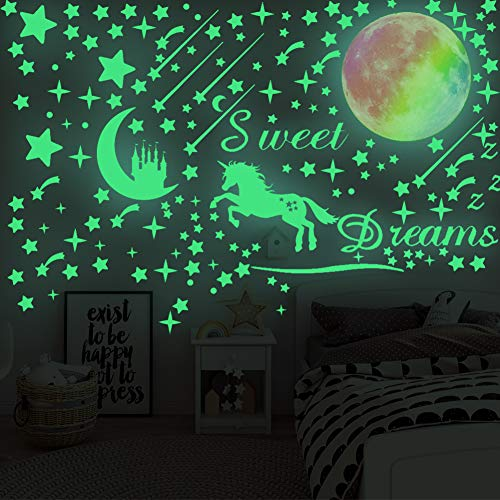 308 Pcs Glow in The Dark Stars for Ceiling, 3D Glowing Unicorn Wall Decals Moon Star Stickers for DIY Boys Girls Bedroom… 3