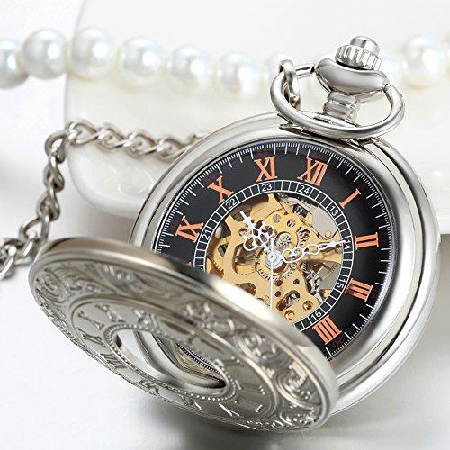 JewelryWe Klassiker Retro Taschenuhr römische Ziffern Herren Handaufzug mechanische Kettenuhr Skelett Uhr mit Halskette Kette Umhängeuhr Vatertag Geschenk Silber