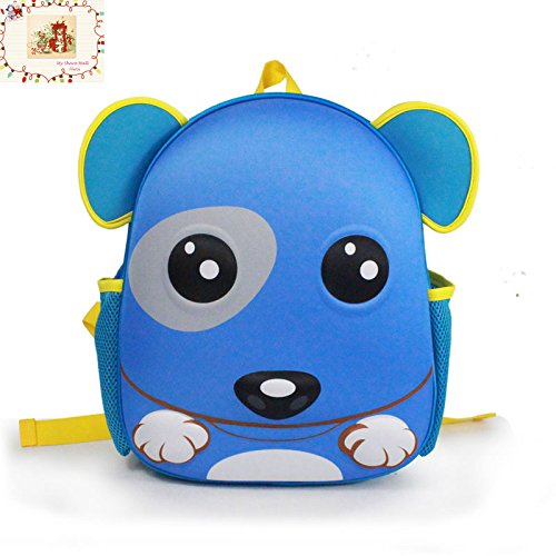 Price comparison product image MSM 3D Monkey Toddler Backpack 13 inch Little kids School Bag (Blue Dog)