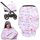 Breastfeeding Nursing Cover, MANLEHOM Stretchy Breathable Infant Car Seat Canopy Soft Scarf with Floral Pattern Multifunction Cover Good for Decorating Shopping Cart High Chair Great Baby Shower Gift