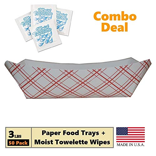 - Paper Food Tray, 3 lb Red Plaid on White Nacho, Fries, Hot Corn Dogs, Take Out Boat Baskets Holder Container: Grease Resistant Paper Tray Combo Includes 50 Trays + 25 Fresh Nap Moist Towelettes
