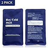 Duo Hot Cold Gel Pack - Set of 2pcs Soft Touch Compress For Therapy, Pain Relief, First Aid - Reusable Microwaveable Hot and Cold Bag - Non Toxic CMC Gel - Blue