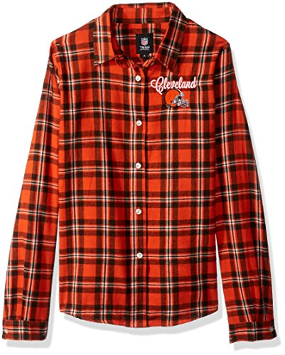Cleveland Browns 2016 Wordmark Basic Flannel Shirt - Womens Small by Forever Collectibles