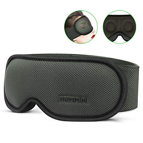 Sleep Mask, HOMMINI Upgraded 3D Contoured Eye Mask for Sleeping, Breathable Memory Foam Sleeping Mask, Soft and Comfortable, 100% Block Eye Mask for Travel Include Carry Pouch earplugs - Life Warranty
