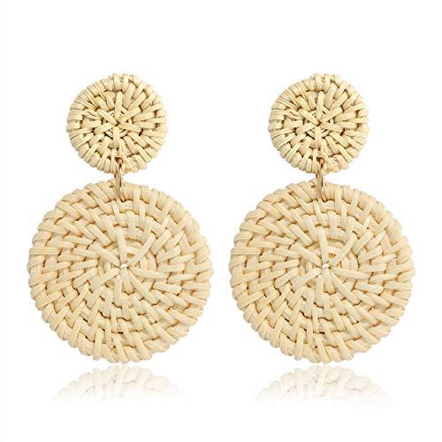 MOLOCH Acrylic for Women Geometry Resin Drop Dangle Earrings Bohemia Tortoise Shell Hoop Earrings Mottled Statement Stud Earrings Fashion Jewelry (A-Rattan Disk)