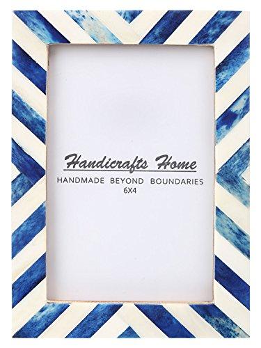 Handicrafts Home 4x6 Picture Photo Frame Chevron Herringbone Art Inspired Vintage Wall Décor Gift Frames [4x6 BLUE]