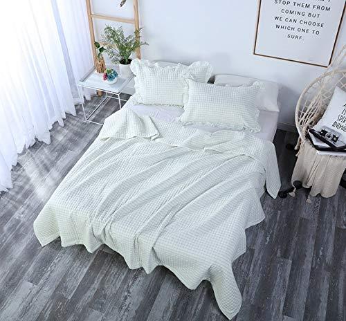 MTkxsy クール撥春と夏の毛布セット、洗濯機で洗えるユニークなよもぎの綿のキルト、通気性の快適さは敏感な昼寝オフィスホームブランケットホームギフト3個セットを防ぎます B07NVG8GCL