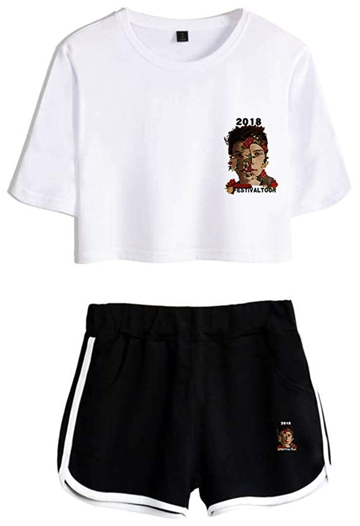 Silver Basic Conjunto Unisex de Shawn Mendes Fashion Leisure y Pantalones Cortos para fan/áticos de la m/úsica