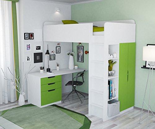 Polini Kids 1447 6 - Cama alta infantil con armario y escritorio
