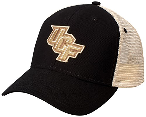 Ouray Sportswear NCAA Central Florida Golden Knights Soft Mesh Sideline Cap, Adjustable Size, Black/Natural - Knights Mesh Cap