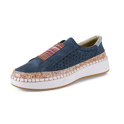 Mocasines Mujer Plataformas Slip On Plano Loafers Bajas Zapatillas Casual Zapatos Comodo Caminar Ligeras Respirable, Azul Verde Rojo Blanco 35-43 EU