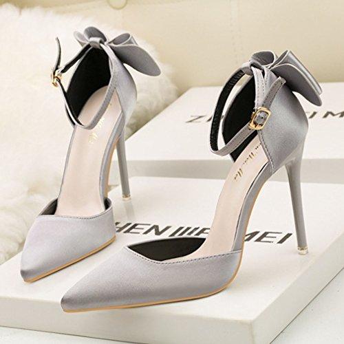 Donna Caviglia Alto Scarpe Scarpette Xianshu Spillo Pompe Punta Grigio con alla con Tacco Cinturino dTfq6z