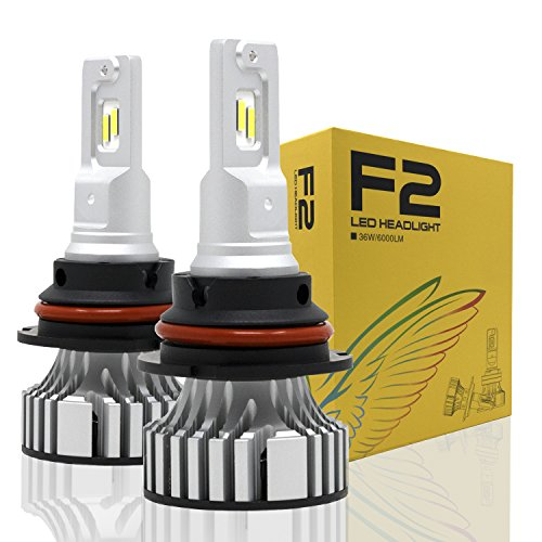Alla Lighting D-CR F2 Newest Version 9000 Lumens Extremely Super Bright Cool White High Power SUPER Mini LED Headlight Bulb All-in-One Conversion Kits Headlamps Bulbs Lamps (9007 / HB5)
