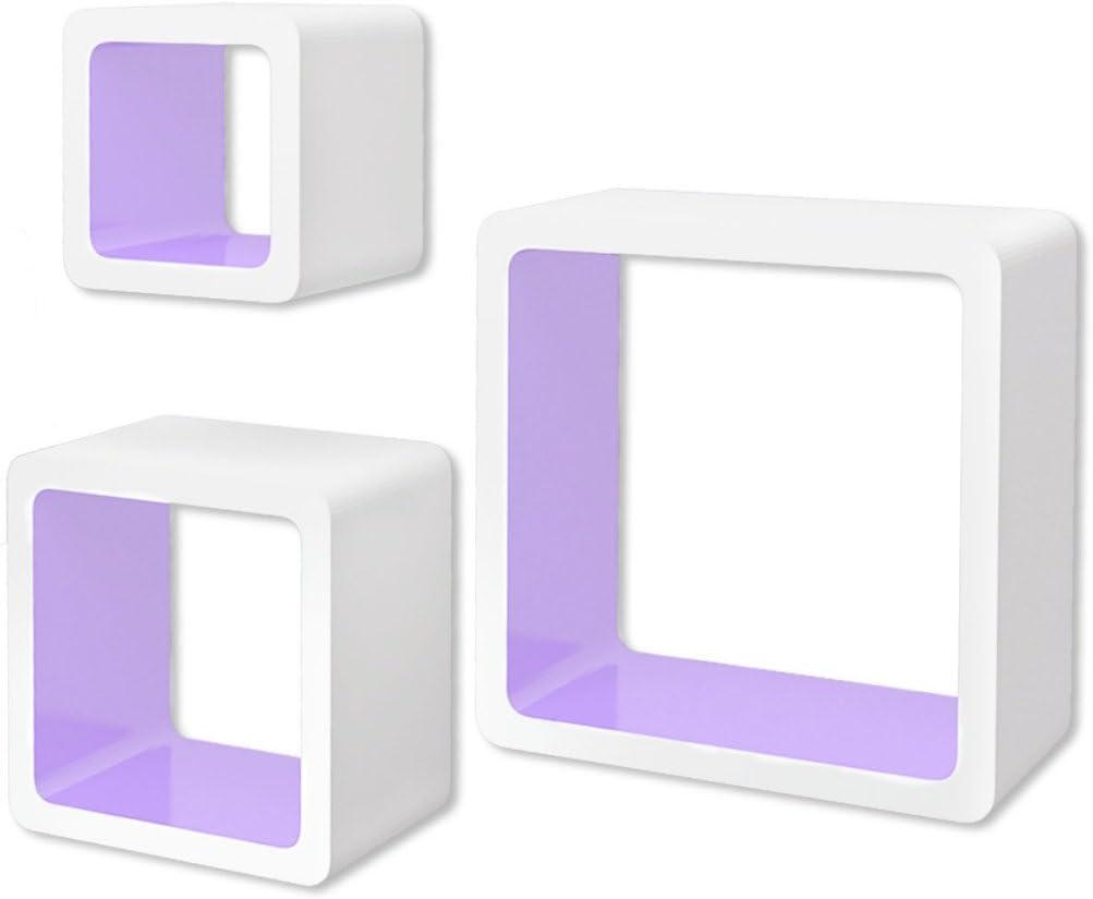 Festnight 3 Cubos Estantes Flotantes de Tablero DM Blanco-morados
