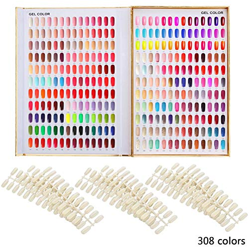 Makartt 308 Nail Color Chart Display Book Golden Nail Polish UV Gel Color Display Nail Salon Tools, A-13