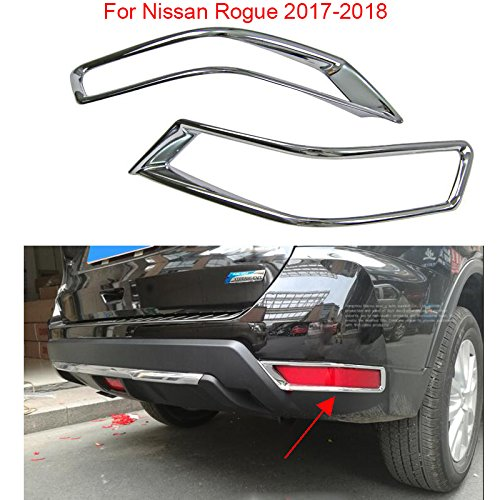 2PCS Chrome Rear Fog Light Lamp Cover Decorate Trim For Nissan Rogue 2017 2018 YongChao
