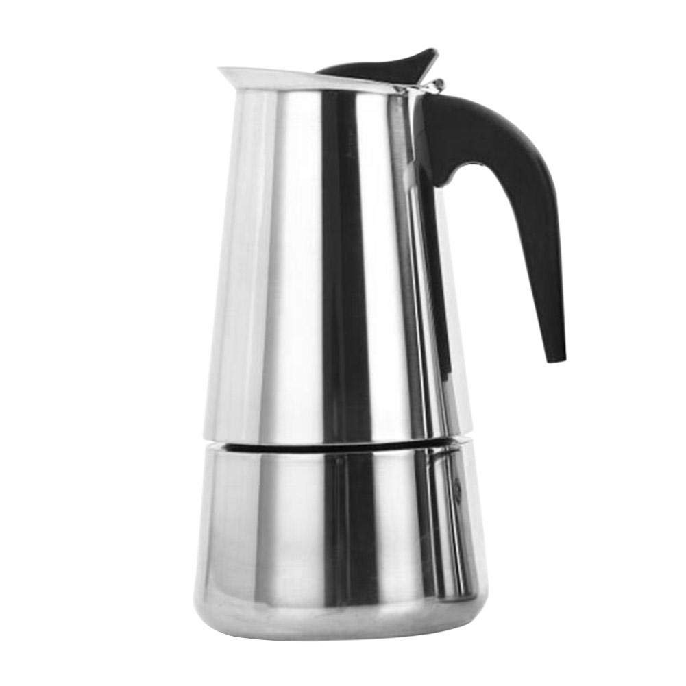 Demiawaking 2-Cup Espresso Coffee Maker Stainless Steel Italian Coffee Maker Moka Pot Latte Percolator Stove Top 100ml (Style 1) DemiawakingUK