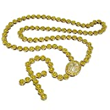 Niv's Bling - 14K Gold Plated Canary Iced Out Rosary Necklace – Hip Hop Flower Chain, 30 inches
