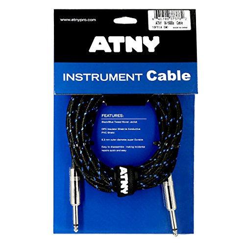 (ATNY Braided Electric Guitar Cable – Professional Grade Musical Instrument Amplifier Cord with Nickel-Plated Dual Straight Plugs and Blue Tweed Jacket [15 Feet])