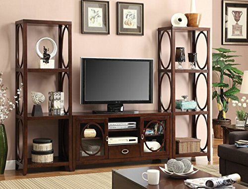 FOA 3 Pc Melville Contemporary Style Cherry Finish Wood Television Console Wall  Unit With Oval Wood Accents