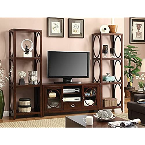 foa 3 pc melville style cherry finish wood television console wall unit with oval wood accents