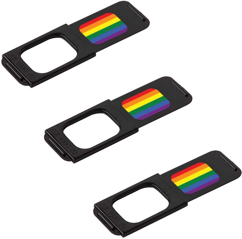"The Original Sliding Webcam Cover, C-Slide 1.0 Black Laptop Privacy Cover with Rainbow Flag - Thin Cam Cover 1.5"" x 0.5"" and 1.5mm Thick - Stalker Blocker for Laptops, Chromebooks & More"