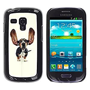 COVERO Samsung Galaxy S3 MINI NOT REGULAR! I8190 I8190N / Basset hound dog ears pet puppy / Prima Delgada SLIM Casa Carcasa Funda Case Bandera Cover Armor Shell PC / Aliminium