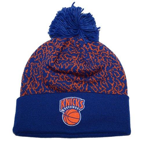 New York Knicks Mitchell & Ness Crack Pattern NBA Knit Hat with Pom by Mitchell & Ness