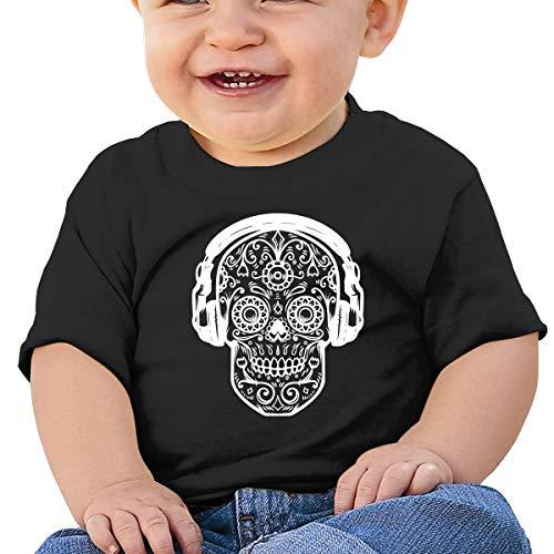ZUGFGF-S3 Skull Headphones Baby Boy Newborn Short Sleeve T Shirts 6-24 Month Cotton Tops Black ()
