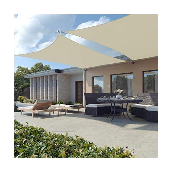 511r3DmC7EL SONGMICS Sonnensegel 2 x 2 m, Sonnenschutz aus reißfestem HDPE-Kunststoff, wetterbeständiger UV-Schutz, luftdurchlässig…