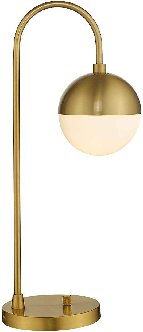 Amazon Com Modern Gold Table Lamp With White Glass Globe Lms Gold Desk Light Bedside Lamp With Brushed Brass Finished For Living Room Office Nightstand Dimmable Switch Home Improvement